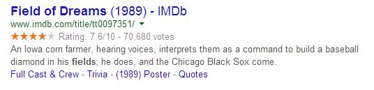 image of google results showing rich snippet